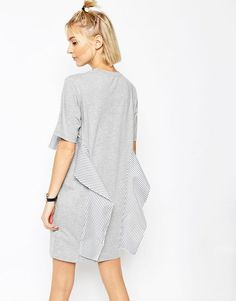 Image 2 of ASOS WHITE T-Shirt Dress with Stripe Frill Detail