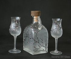 Aperitif Glasses and a Bottle Hand Painted by NevenaArtGlass