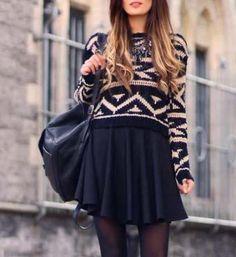 geometric sweater mini plain black skirt