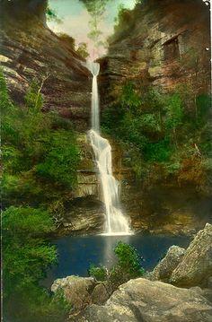Minnehaha Falls, Katoomba. Format: original hand coloured B photograph, Harry Phillips