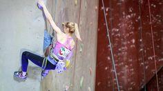 Klaudia Buczek climbing with Violet Chalk Bat Chalk Bag by Craftic Climbing