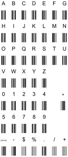 code 39 barcode characters -- how barcodes work - wikipedia code 39 barcode characters -- how barcodes work - wikipedia Alphabet Code, Sign Language Alphabet, Alphabet Symbols, Barcode Art, Barcode Tattoo, Barcode Design, Small Tattoos, Tattoos For Guys, Useful Life Hacks