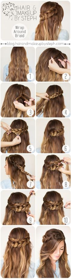 Wrap Around Braid. I like that this one shows how to overlap them! Most tutorials just skip it, like it's a magical secret.
