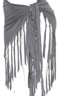 GRAY FRINGE Tribal Fusion Belly Dance Dancing Burlesque Gothic Hip Scarf Belt #HipScarf