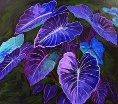 Expressionist painting of big purple elephant ear leaves.