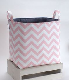 Toy Basket, Pink Chevron by The Storage Loft contemporary hampers