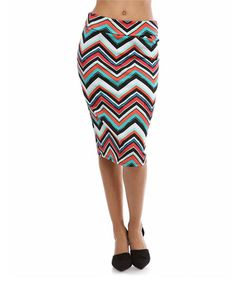 Look at this #zulilyfind! Coral & Teal Zigzag Pencil Skirt by BOLD & BEAUTIFUL #zulilyfinds