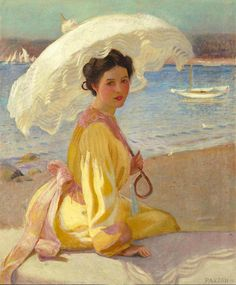 """ Girl with the Sea Beyond - William MacGregor Paxton """