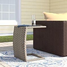 Sol 72 Outdoor™ Rockport 5 Piece Dining Set with Cushions & Reviews | Wayfair Wicker Side Table, Wicker Dining Set, Outdoor Side Table, Dining Arm Chair, Outdoor Dining, Dining Table, Outdoor Decor, Patio Tables, Side Tables