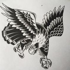 Traditional Eagle Tattoo, Traditional Tattoo Flowers, Traditional Tattoo Design, Old School Tattoo Designs, Tattoo Designs Men, Tattoos Mandala, Flower Tattoos, Tatto Old, Desenhos Old School