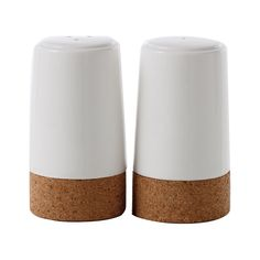 There's nothing particular fancy about this Almaden Ceramic Salt & Pepper Set, but that's part of its appeal. A pair of white ceramic shakers with cork bases bring a contemporary and fresh accent to a ...  Find the 2-Pc. Almaden Ceramic Salt & Pepper Shaker Set, as seen in the Modern Fall Soirée Collection at http://dotandbo.com/collections/modern-fall-soiree?utm_source=pinterest&utm_medium=organic&db_sku=108053