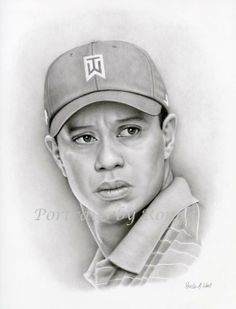 Tiger Woods by rondawest {from USA} ~ pencil portrait
