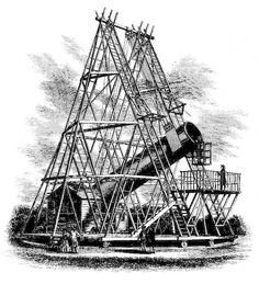 "Wilhelm Herschel's 40-foot telescope. At the time it was the largest telescope ever made. Mona Evans, ""Herschel Partnership - for Kids"", http://www.bellaonline.com/articles/art181247.asp"