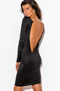 ONCE UPON A NIGHT | black backless long sleeve chain bejeweled bodycon fitted clubbing midi party dress - 1015store.com