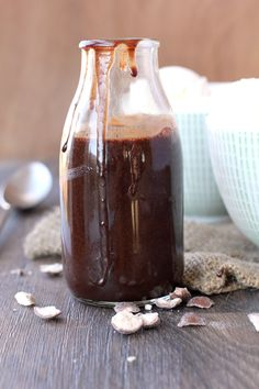 Healthier Hot Fudge Sauce  1 cup chocolate chips  1/4 cup water  1/2 teaspoon coconut oil  1 tablespoon milk