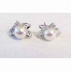 Sterling Silver, White Freshwater Pearls with CZ accent Stud Earrings