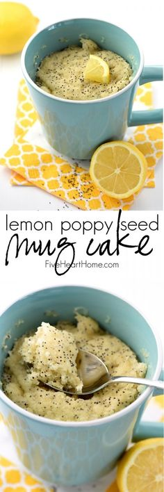 Lemon Poppy Seed Muffin Mug Cake ~ a quick, tasty, single-serving breakfast or dessert treat! | http://FiveHeartHome.com