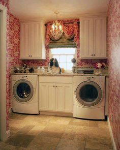 Cecília Cecílio Home.  Love this #laundry room with pretty #berry colored #wallpaper!