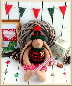 Christmas Fabric stuffed Bunny soft rabbit  заяц  от MyShopDolls