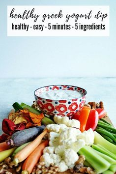 My pre-dinner rule? Snacks have to be vegetables! This healthy greek yogurt veggie dip is a nutritious snack, perfect for after school snacking and comes together in just 5 minutes, with 5 ingredients! Healthy Dip Recipes, Healthy Vegetable Recipes, Appetizer Recipes, Snack Recipes, Appetizers, Yummy Recipes, Breakfast Recipes, Nutritious Snacks, Healthy Snacks