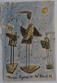 """Three figures"" 1968  Watercolour/Gouache."