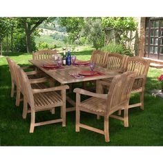 Amazonia Teak Cannes Rectangular Extendable 9-piece Teak Dining Set