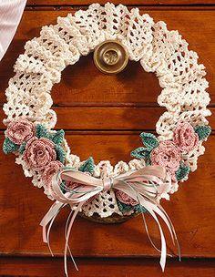 Shells & Roses Wreath Thread Crochet Pattern ePattern - Leisure Arts