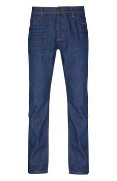 Blue Raw Denim Straight Jeans
