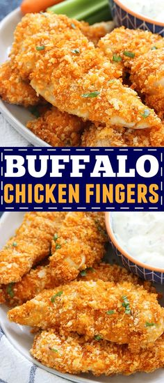 Baked Buffalo Chicken Fingers Recipe - These Baked Buffalo Chicken Fingers are perfect for an easy, tasty dinner, or an appetizer for a crowd. They're quick, crispy, and taste delicious dipped into bleu cheese with chopped celery and carrots on the side! Buffalo Chicken Fingers, Buffalo Chicken Strips, Buffalo Chicken Bites, Appetizers For A Crowd, Best Appetizers, Appetizer Recipes, Chicken Appetizers, Pollo Buffalo, Chicken Finger Recipes