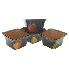 Fruit Filigree Square Bowl - Set of 4