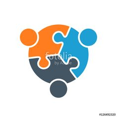 Vector Abstract Puzzle Stylized Family of 3, Team lIcon, Logo, Illustration Isolated