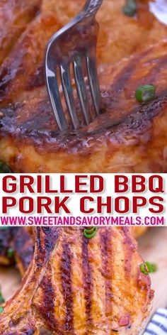 Pork Chop Recipes, Grilling Recipes, Gourmet Recipes, Cooking Recipes, Healthy Recipes, Dinner Recipes, Dinner Ideas, Barbacoa, Grilled Bbq Pork Chops