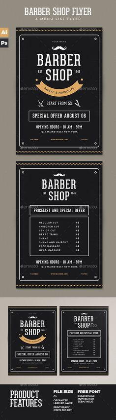 Barber Shop Flyer Template PSD, AI Illustrator. Download here: https://graphicriver.net/item/barber-shop-flyer/17258298?ref=ksioks