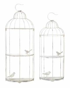 Set of two metal shelves with birdcage silhouettes. Product: Small and large birdcage shelvesConstruction Material: MetalColor: SilverDimensions: Small: 37 H x 14 W x D Large: 42 H x 16 W x 6 D Wall Mounted Shelves, Metal Shelves, Display Shelves, Shelf, Shelving, Wall Decor Set, Decor Room, Wall Decorations, Metal Birds