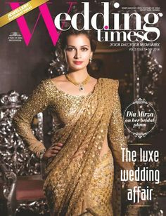 Dia Mirza - Photoshoot for Wedding Times Magazine, September 2014 Event Dresses, Bridal Dresses, Indian Dresses, Indian Outfits, Golden Saree, Indian Silk Sarees, Dia Mirza, Asian Bridal, Indian Attire