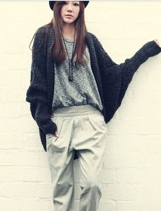 dark gray batwing cape cardigan.