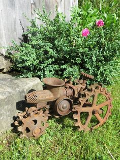 little rusty tractor for the garden