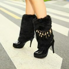 Womens Furry Mid Calf Stilettos Boot Pull On Chains Sweet Shoes Snow Nice 2017 Snow Boots Women, Winter Snow Boots, Dress With Boots, Dress Shoes, Walking Boots, Platform Boots, High Heels Stilettos, Women's Boots, Pink White