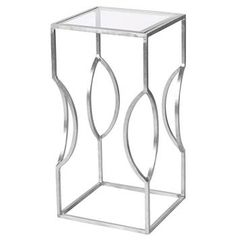Palmetto Hollywood Regency Silver Glass Square Side Table. #kathykuohome