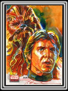 Artist Mark McHaley has done dozens and dozens of Star Wars portraits for Topps and for the Star Wars Celebrations. The HAN and CHEWBACCA image shown here is a Topps Star Wars Galaxy 4 sketch card. Star Wars Fan Art, Star Wars Luke, Han Solo And Chewbacca, Star Wars Books, Star Wars Celebration, Cool Artwork, Sketches, Galaxy 4, Drawings