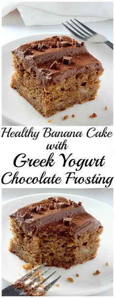 Healthy Whole Wheat Banana Cake with Creamy Greek Yogurt Chocolate Frosting