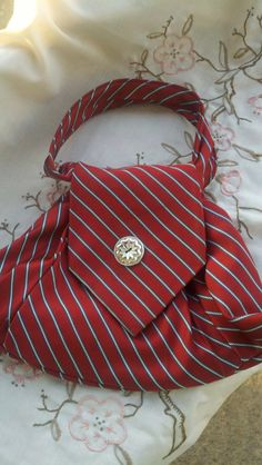 Silk Purse made from One Neck Tie - Red with Silver Stripe. $12.00, via Etsy.