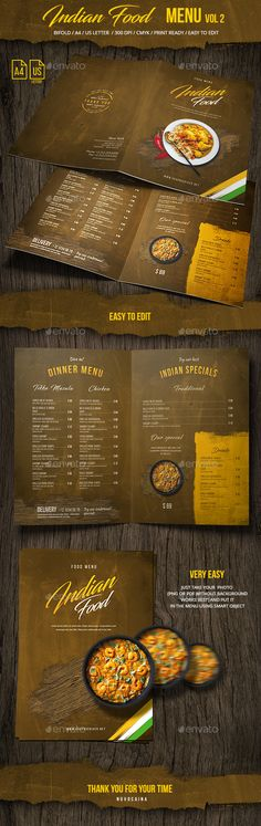 Indian Food Menu A4 & US Letter - Bifold - Vol 2