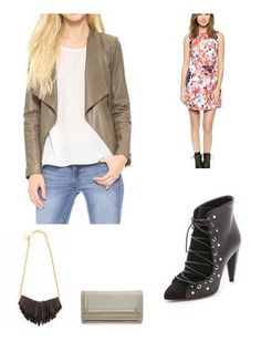 Add some edge to a feminine number by pairing with lace-up booties and a cool, leather jacket.