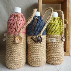 planet green過去作品。 ペットボトルホルダー。  #crocheting #麻ひも #ジュート #かぎ針 #編み小物 #ペットボトルホルダー #ハンドメイド #プラネットグリーン
