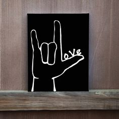 I Love You Sign Language Hand Painted Canvas, Love Painted on Thumb, Wedding Gift, Ready to Hang, Multiple Sizes, Home Decor by LittleDoodleDesign on Etsy