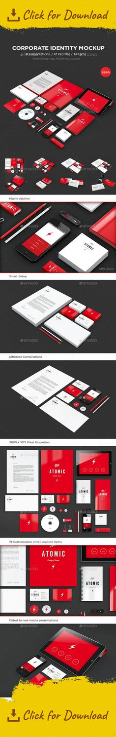 a4, atomic, badge, badges, binder clips, brand, branding, brochure, business card, cd, corporate, elegant, identity, ipad, iphone, letterhead, mock-up, mockup, modern, pack, pin, presentation, print, realistic, red, rubber, stamp, stationery, usb ATOMIC Mockup Bundle  – All in One!  The set of items you still don't have!   WHAT YOU WILL GET:  A SERIOUS AMOUNT OF DETAIL!  A FINE AND WELL HANDCRAFTED MOCKUP VERY EASY TO USE! with Smart Objects and independent reflections and shadows separ...