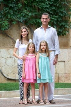 King Felipe VI of Spain, Queen Letizia of Spain and their daughters Leonor Princess of Asturias (R) and Infanta Sofia of Spain (L) pose for the photographers at the Marivent Palace on 05.08.2014 in Palma de Mallorca, Spain.