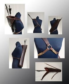 good idea to hold the quiver Mode Steampunk, Steampunk Costume, Cosplay Tutorial, Cosplay Diy, Elven Cosplay, Larp, Moda Medieval, Traditional Archery, Leather Armor