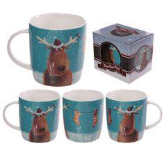 Jan Pashley Christmas Reindeers Bone China Mug #mug #christmas #snowman #giftware